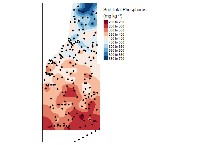Final kriged interpolation of the detrended (fake) soil total phosphorus values across the study area.