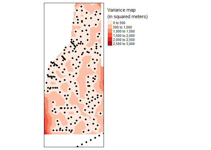 Variance map of final kriged interpolation of the detrended (fake) soil total phosphorus values across the study area.