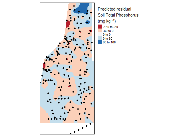 Krige interpolation of the residual (fake) soil total phosphorus values across the study area.