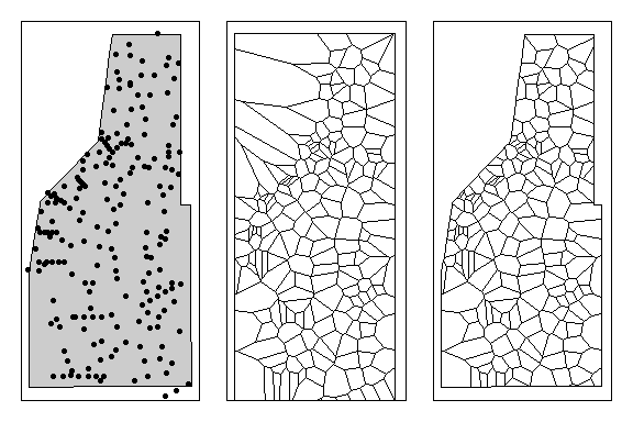 **Left:** All sampling points within the study area. **Middle:** Thessian polyon for all sampling locations. **Right:** Thessian polygons clipped to study area.