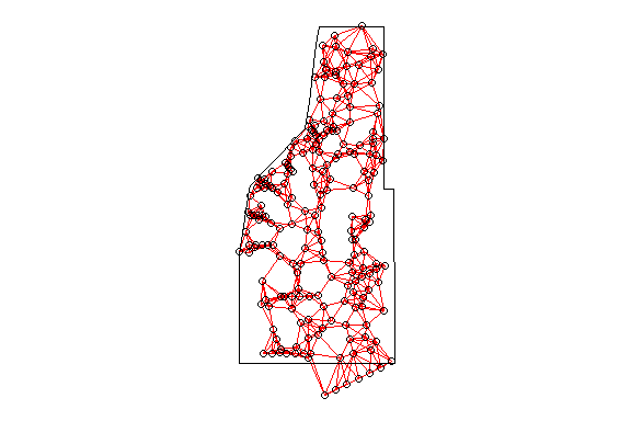 Thessian polygons clipped to the study area with neighborhood network.